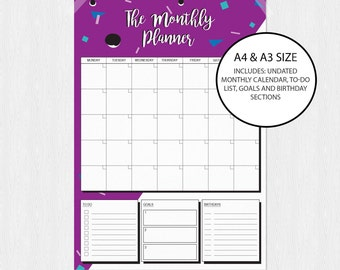 Monthly Planner Printable Fun Graphic