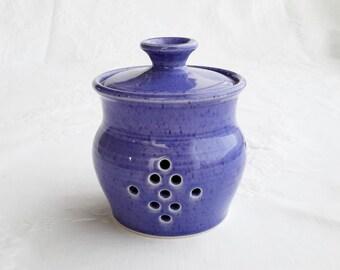 ceramic garlic keeper, blue wheel thrown garlic holder, pottery garlic pot, handmade garlic holder, garlic jar, container, gift for cook