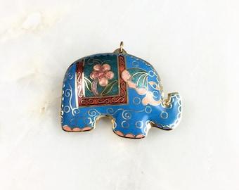 Vintage Cloisonne Elephant Pendant