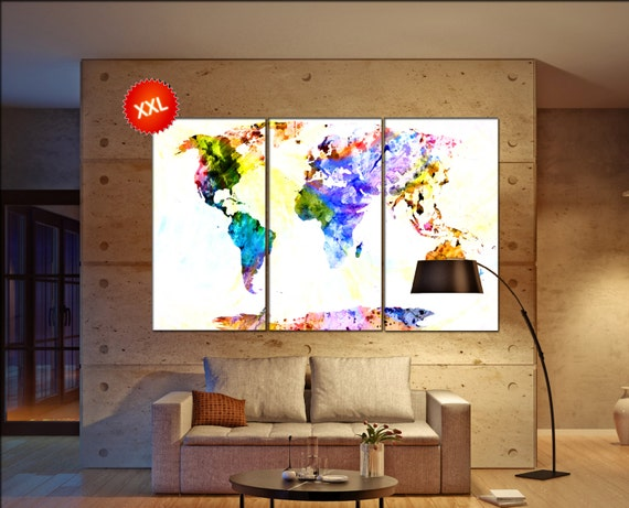 huge world map  print on canvas wall art canvas wall art huge world map print art artwork large world map Print home office decoration
