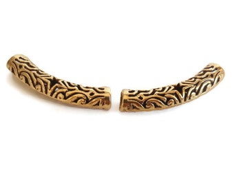 2 Tibetan Antique Gold Hollow Tube Bead, Jewelry making Supply, Filigree, Lead Free, Nickel Free, Cadmium Free