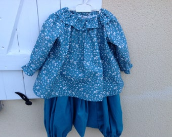 set girl full or mismatched harem pants and collar tunic