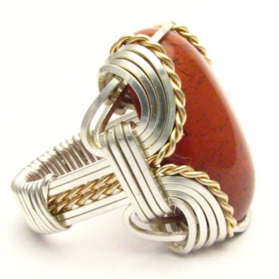 Handmade Wire Wrap Sterling Silver/14kt Gold Filled Red Jasper Ring