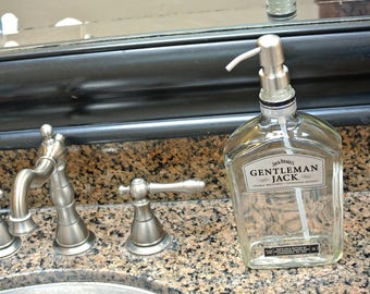 Gentleman Jack Daniels Whiskey Soap Dispenser / Jack Daniels Decor Boyfriend / Glass Soap Dispensers Dish Soap Whiskey Gift Whiskey Lover