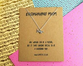 Dachshund Mum Necklace  - Dachshund Necklace - Sausage Dog Necklace - Dachshund Gift - Dachshund Charm - Sausage Dog Charm - Sausage Dog