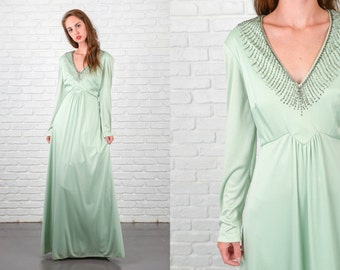 Vintage 70s Green Maxi Dress Plunging Beaded Neckline Medium M Party 4471