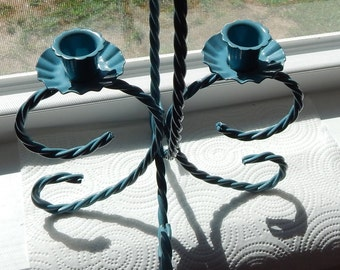 Blue Painted Vintage Homco ornate Twisted Metal Candleholder with Double Holders for Taper or Votive Cups