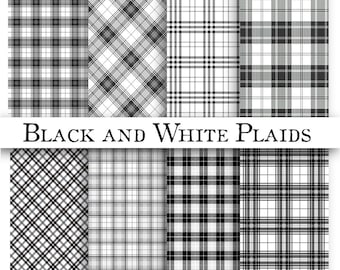 Black and White PLAID PATTERNS- Digital Paper Pack - 8 Black Checked  Plaid Checker Printable Papers,Instant Download Digital