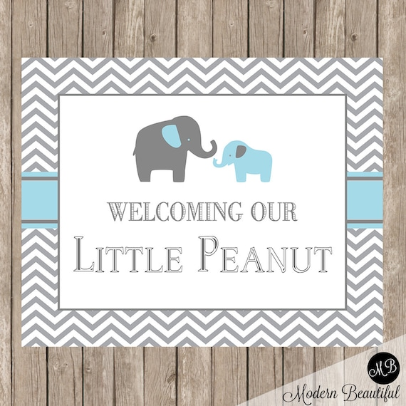 Elephant Baby Shower Welcome Sign Boy Baby Shower Sign