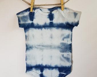 9-12 mo. Baby Romper, Hand dyed, Shibori, Indigo, Tie Dye, One piece, Romper, Baby Shibori, Bohemian Baby