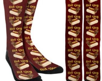 Hot Dog Crew Socks - Funny Socks - Crazy Socks - Cute Socks -Novelty Socks -Unique Socks -Socks for Men -Socks for Women - FREE Shipping C02