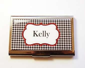 Personalized Business Card Case, Personalized, Houndstooth, Custom Case, card case, business card holder, black, white (3052)