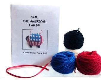 Sheep Ornament Knitting Kit Patriotic Lamb Ornament Kit