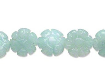 Flower Amazonite Natural Gemstone Beads12x12mm Carved Flower 16 Inches Strand