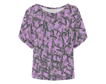 Lavender stars dolman batwing top loose fit wide sleeves purple pink blue alternative clothing unusual floral flowers