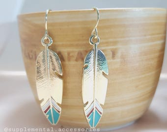234 Metal Feather Dangle & Drop Earrings - Gold , Teal Color - Imitated Enamel, Gold Plated