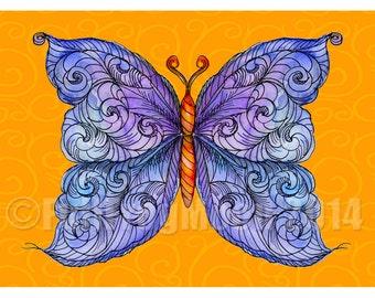 The Cosmic Purple Butterfly Print