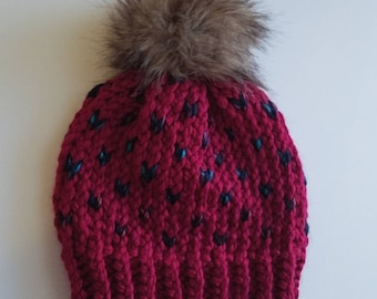 Ready to ship // cranberry knit toque // knit hat // knit beanie // faux fur pom // heart knit // toque