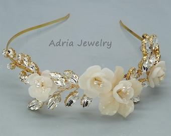 30% Off Sale Gold Wedding Headband Flower Bridal Headband Crystal Bridal Hair Pieces - Ready to ship