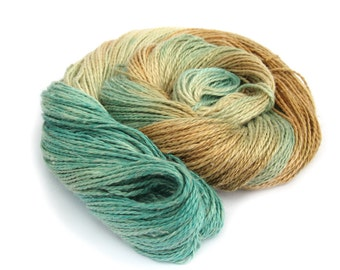 Light worsted DK yarn, hand dyed double knitting baby alpaca linen silk blend yarn skein, Perran Yarns Sandy Toes, aqua blue brown