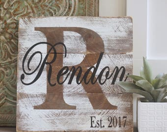 Last name sign, wedding sign, established sign, monogram sign, pallet last name sign, pallet sign, wedding sign, pallet sign