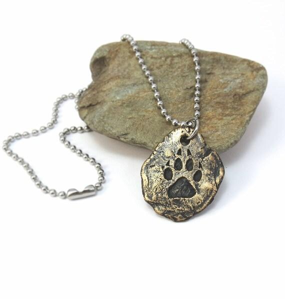 Wolf Paw Print Necklace Gold Wolf Jewelry Dog Paw Print