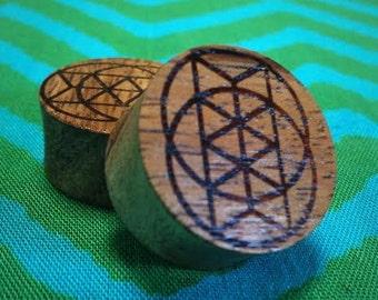 Isometric Vesica Piscis Koa Wood Plug Gauges Sacred Geometry