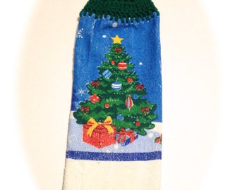Christmas Tree Hand Towel With Paddy Green Crocheted Top
