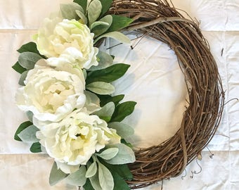 Peony Wreath, Grapevine Wreath, Spring Wreath, Summer Wreath, Front Door Wreath, Farmhouse Wreath, White Wreath, Mother's Day Wreath