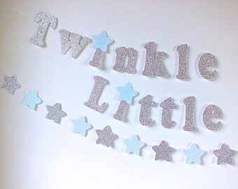 Twinkle, Twinkle Little Star Silver Glitter Banner, Stars Garlands, Stars Confetti, Birthday Decor, Blue Silver Birthday, First Birthday