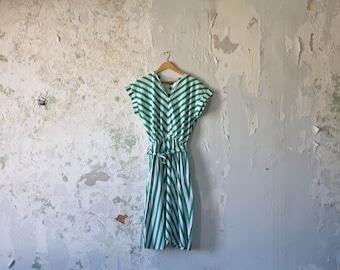 Vintage Striped Dress - 70s 1970s Green Dress - Sunshine Classic Medium Large Tie Polka Dot
