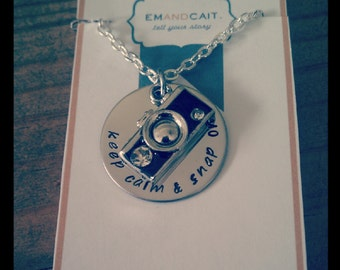 Keep Calm and Snap on Custom Photographer Camera Necklace, Gift for photographer, Present for Photographer, Camera Charm