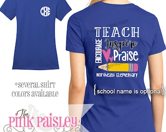 Monogrammed Teacher Shirt | Personalized School Shirt | Teacher Appreciation Gift | Personalized Teacher t-shirt l Back To School
