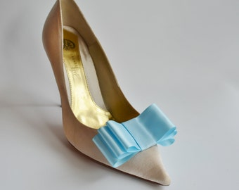Baby Blue Satin Ribbon Bow Shoe Clips Set Of Two, More Colors Available