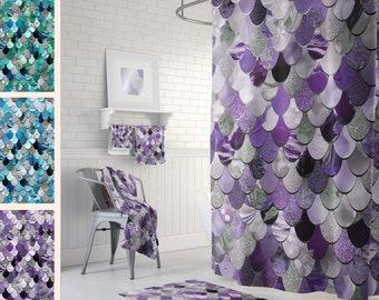 Purple Mermaid Shower Curtain - Printed Shower Curtain - Mermaid Scales - Purple, Silver, Grey