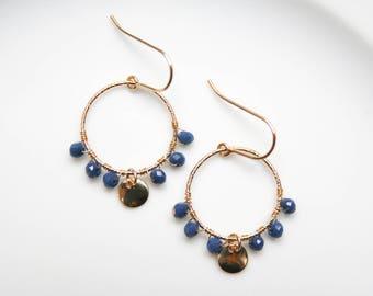 Yuki - Drop Earrings 14k Gold Filled; Marin Blue Glass Beads