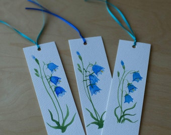 Blue Bells Bookmarks/Blue Bell Hand Painted Bookmarks/Floral Watercolour Bookmarks/Hand Made Bookmarks/Blue Bell Watercolour- Paper Gift