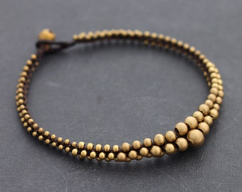 Lunar Beaded Brass Anklet