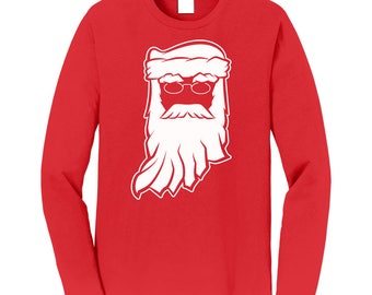 Santa Claus Indiana Christmas Long Sleeve Red Tee. Mens / Unisex Holiday Tee / Ugly Christmas Sweater / Christmas Party / Hoosiers / XMAS