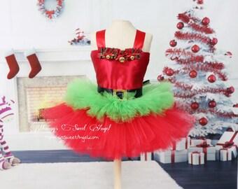Christmas tutu outfit. Elf tutu dress. Santa's helper tutu. Red and green tutu. Christmas tutu dress. Christmas tutu. Holiday tutu outfit.