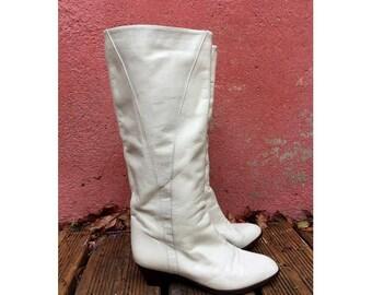 1980s Italian white leather slough knee BOOTS // size eu 37- uk 4- us 5.5