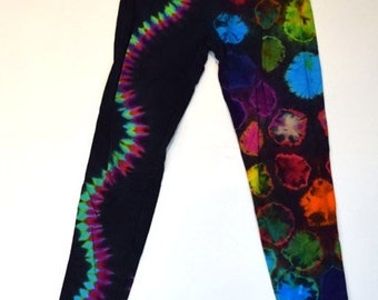 Rainbow on Black Jellyfish Tie Dye Leggings (Dharma Trading Co. Deluxe Cotton Leggings with Spandex Size M) (One of a Kind)
