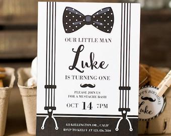 DIGITAL FILE Mustache Invite, Mustache Invitation, Mustache Party, Little Man Invite, Little Man Invitation, Little Man Birthday