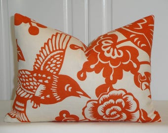 Decorative Pillow Cover  -  BOTH SIDES Thomas Paul for Duralee - Orange -Tangerine - Bird - Floral - Lumbar Cover