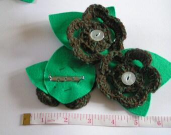 Handmade Crochet Green Marl Flower Brooch