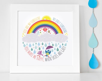 You Are My Sunshine Print // You Are My Sunshine Wall Art // Nursery Decor // Nursery Art // Personalised Kids  Print // Kids Room Art