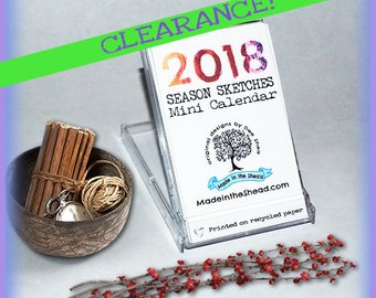 CLEARANCE 2018 MINI Desktop Calendar on Recycled Paper, Mini CD Case, Seasonal Art, Fun and Eco-Friendly!