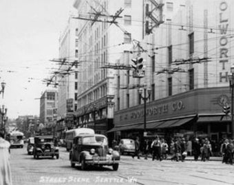 Seattle, WA Street Scene Downtown Photograph (Art Prints available in multiple sizes)