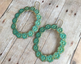 Large Verdigris Bohemian Flower Earrings Patina Jewelry