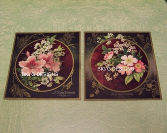 Two vintage Victorian floral flowers Merry Happy Christmas greeting cards